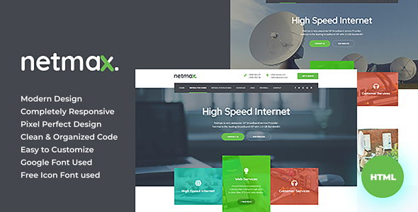 NetMax - Dish Cable & ISP Business HTML Templates