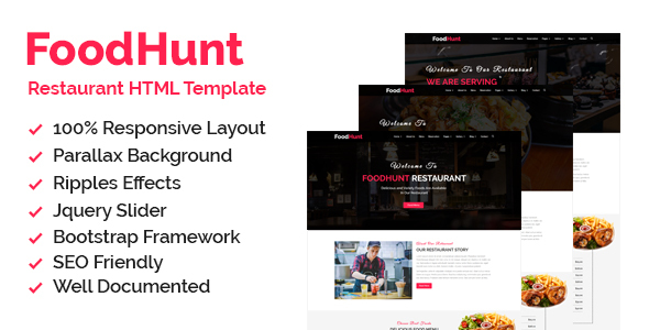 Foodhunt - Restaurant HTML Responsive Template