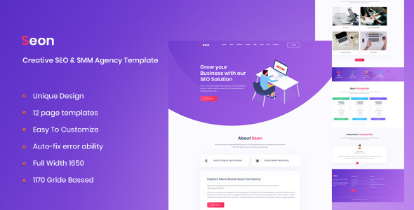 Seon - Creative SEO & SMM Business Agency PSD Template