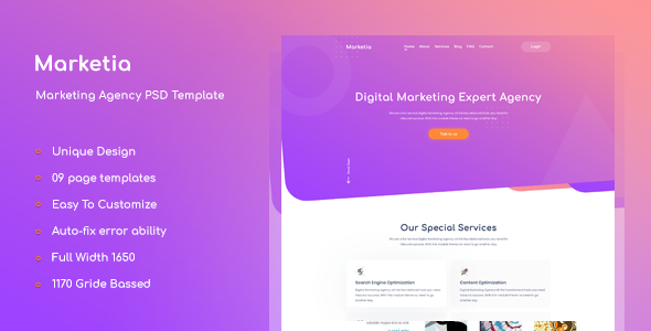 Marketia - Marketing Agency Business PSD Template