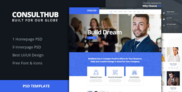 Consulthub - Consultancy Business PSD Template