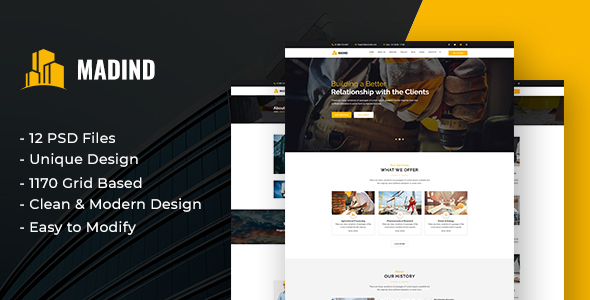 MADIND - Construction Business PSD Template
