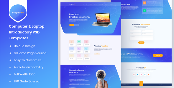 ComputerON - Computer & Laptop Introductory PSD Templates