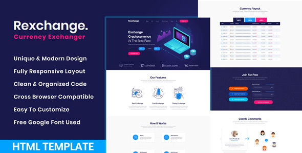 RexChanger - CryptoCurrency Exchanger HTML Template