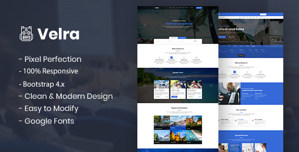 Velra - Travel Transport Business HTML Template