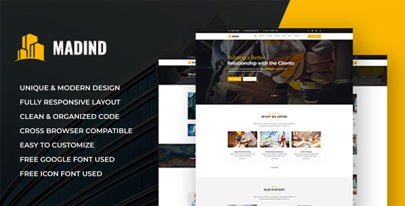 MADIND - Construction Business HTML Template