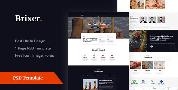 Brixer - Brick Field Industry PSD Templates