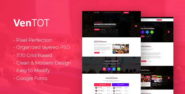 VenToT - Conference, Seminar & Event PSD Template