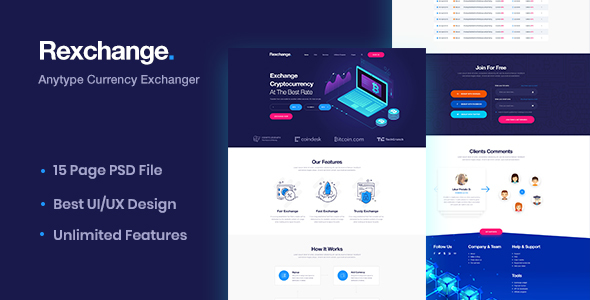 RexChanger - CryptoCurrency Exchanger PSD Template