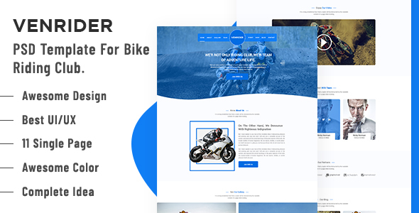 VenRider - Bike Rider Club PSD Template