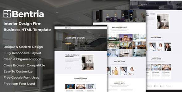 Bentria - Interior Design Firm Website HTML Template