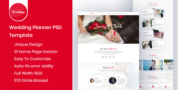 Weddingo - OnePage Wedding Planner PSD Template