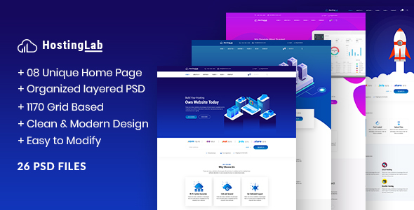 HostingLab - Web Hosting Business PSD Template
