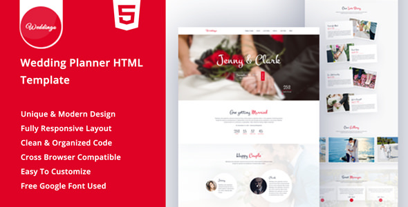 Weddingo - OnePage Wedding Planner HTML Template