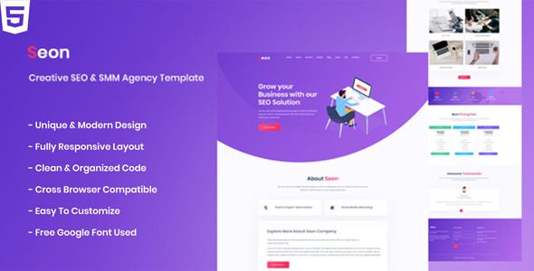 Seon - Creative SEO & SMM Business Agency HTML Template