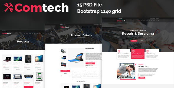 ComTech - Computer & Repair Shop Business PSD Template