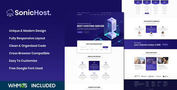 SonicHost - Web Hosting HTML5 Hosting Business Template