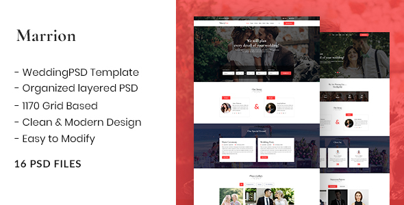 Marrion - Marriage Agency & Matchmaker Business PSD Template