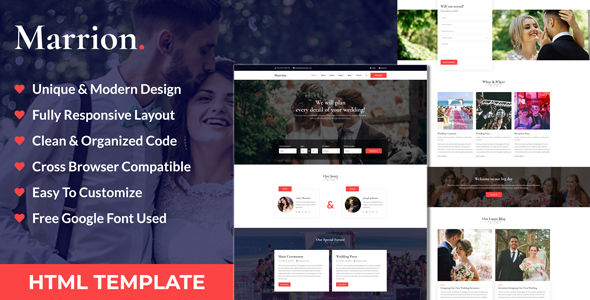 Marrion - Marriage Agency & Matchmaker Business HTML Template