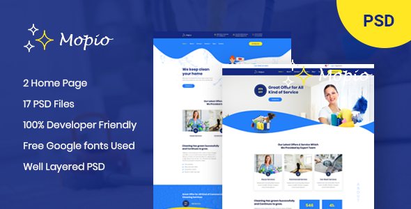 Mopio - On Demand Cleaning Service PSD Template
