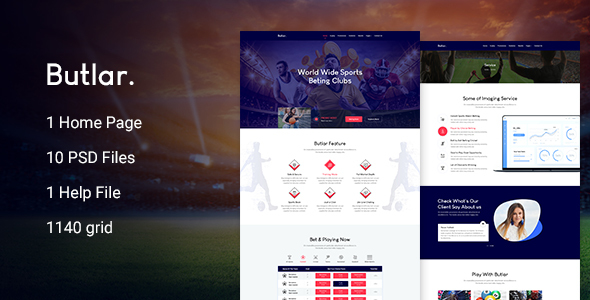 Butlar - Sports Betting PSD Template