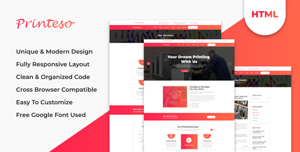 Printeso - Printing Agency Business HTML Template
