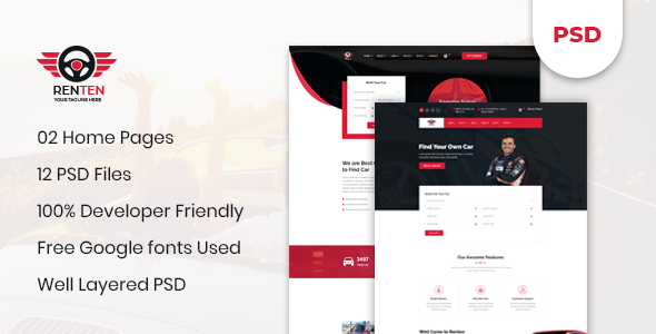 Renten - Car Rental Service PSD Template