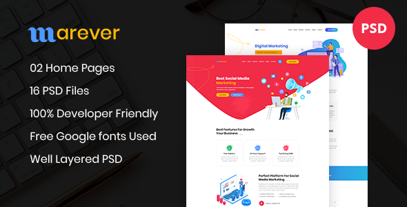 Marever - Social Media Marketing PSD Template