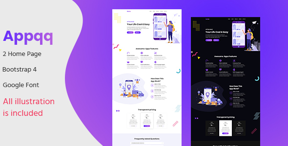 Appqq - Apps Landing Page PSD Template