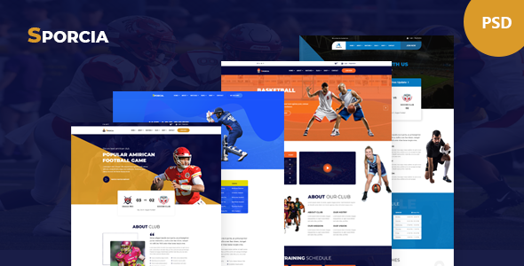 Sporcia - Sports Club PSD Template