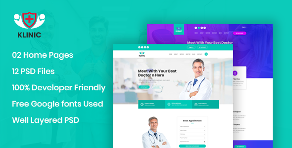 Klinic - Hospital & Clinic Website PSD Template