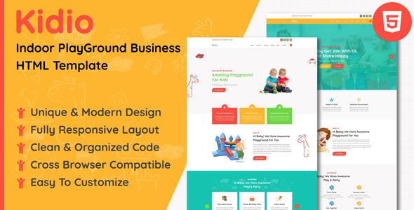 Kidio - Indoor PlayGround Business HTML Template