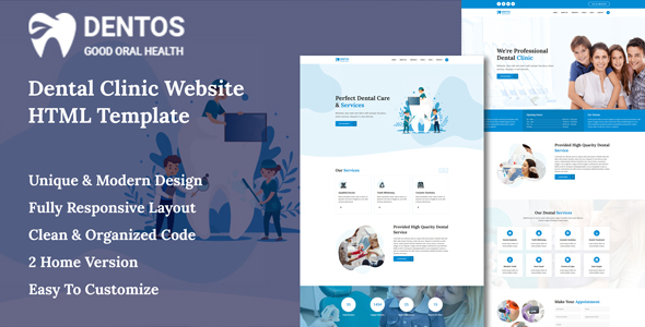 Dentos - Dental Clinic Website HTML Template
