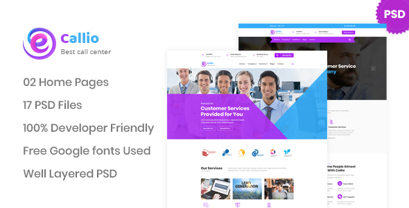 Callio - Call Center Business PSD Template