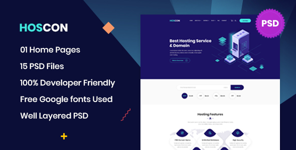 Hoscon - Hosting Business PSD Template