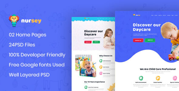 Nursey - Day Care & Kindergarten PSD Template