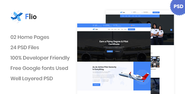 Flio - Flying Academy PSD Template