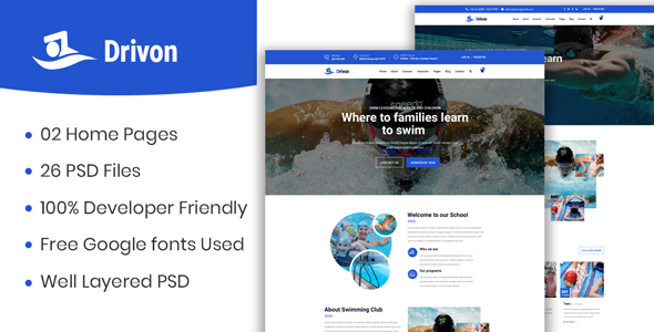 Drivon - Swimming School PSD Template