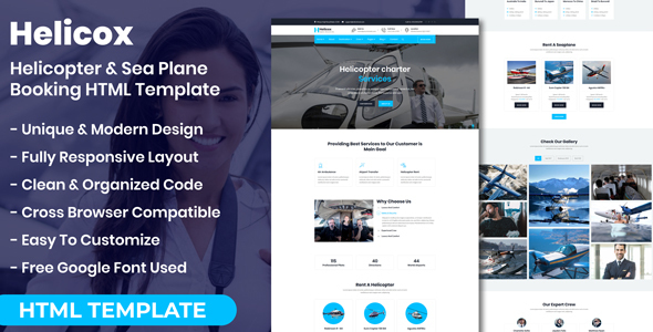 Helicox - Helicopter & Sea Plane Booking HTML Template