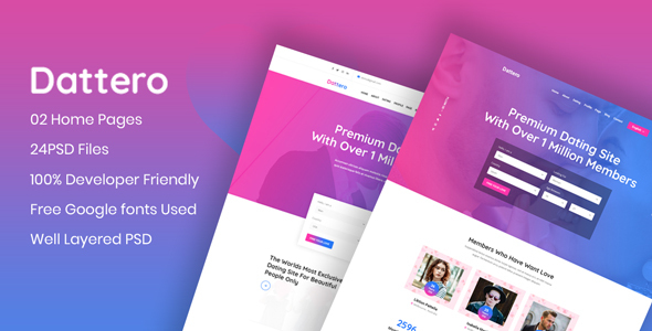 Dattero - Dating,  Marriage Agency & Matrimonial PSD Template