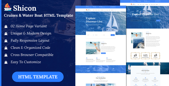 Shicon - Cruises & Water Boat HTML Template