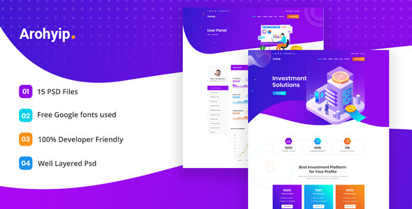 Arohyip - HYIP Investment Business PSD Template