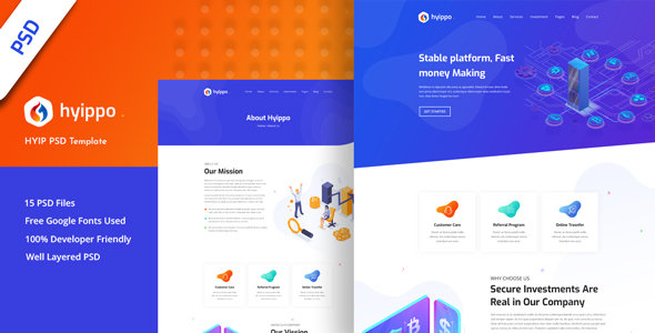 Hyippo - Isometric HYIP Investment Business PSD Template