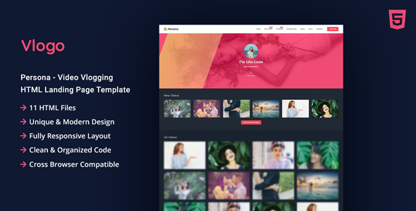 Vlogo - Vlogging HTML Landing Page Template