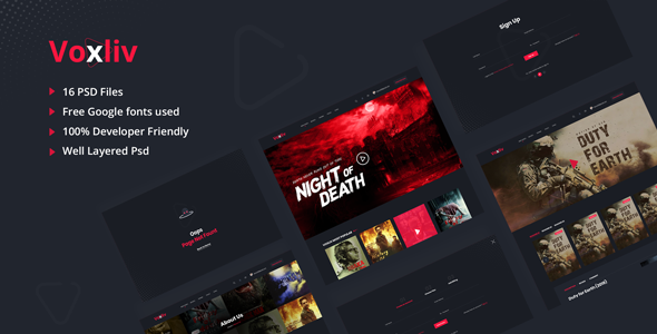 Voxliv - Video On Demand PSD Template