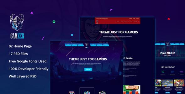 Gamzer - Online Gaming PSD Template