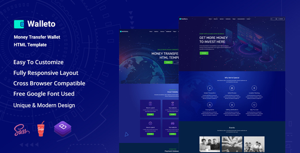 Walleto - Money Transfer Wallet HTML Template