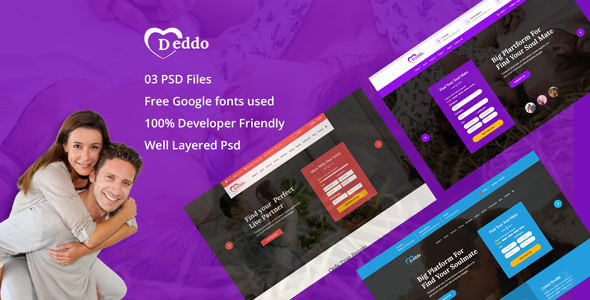 Deddo - Dating Offer Landing Page PSD Template