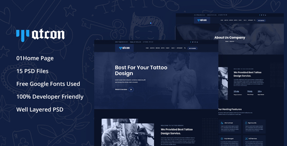 Tatcon - Tattoo Shop PSD Template