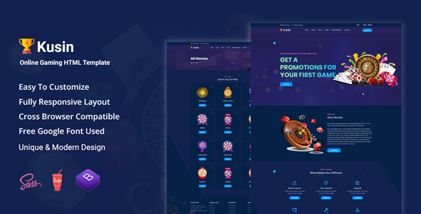 Kusin - Online Casino HTML Template